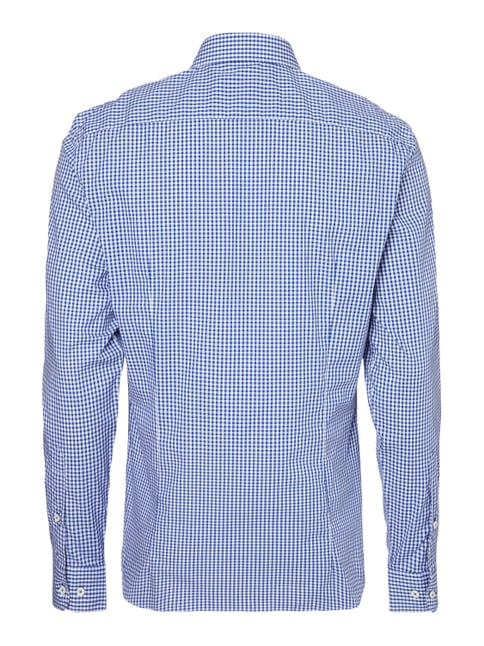 Montego Slim Fit Business-Hemd mit Vichy Karo Royalblau - 1