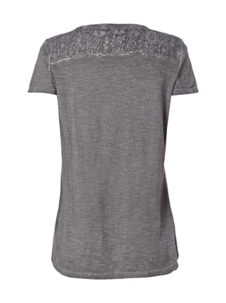 Montego T-Shirt im Washed Out-Look mit Häkelspitze Graphit - 1
