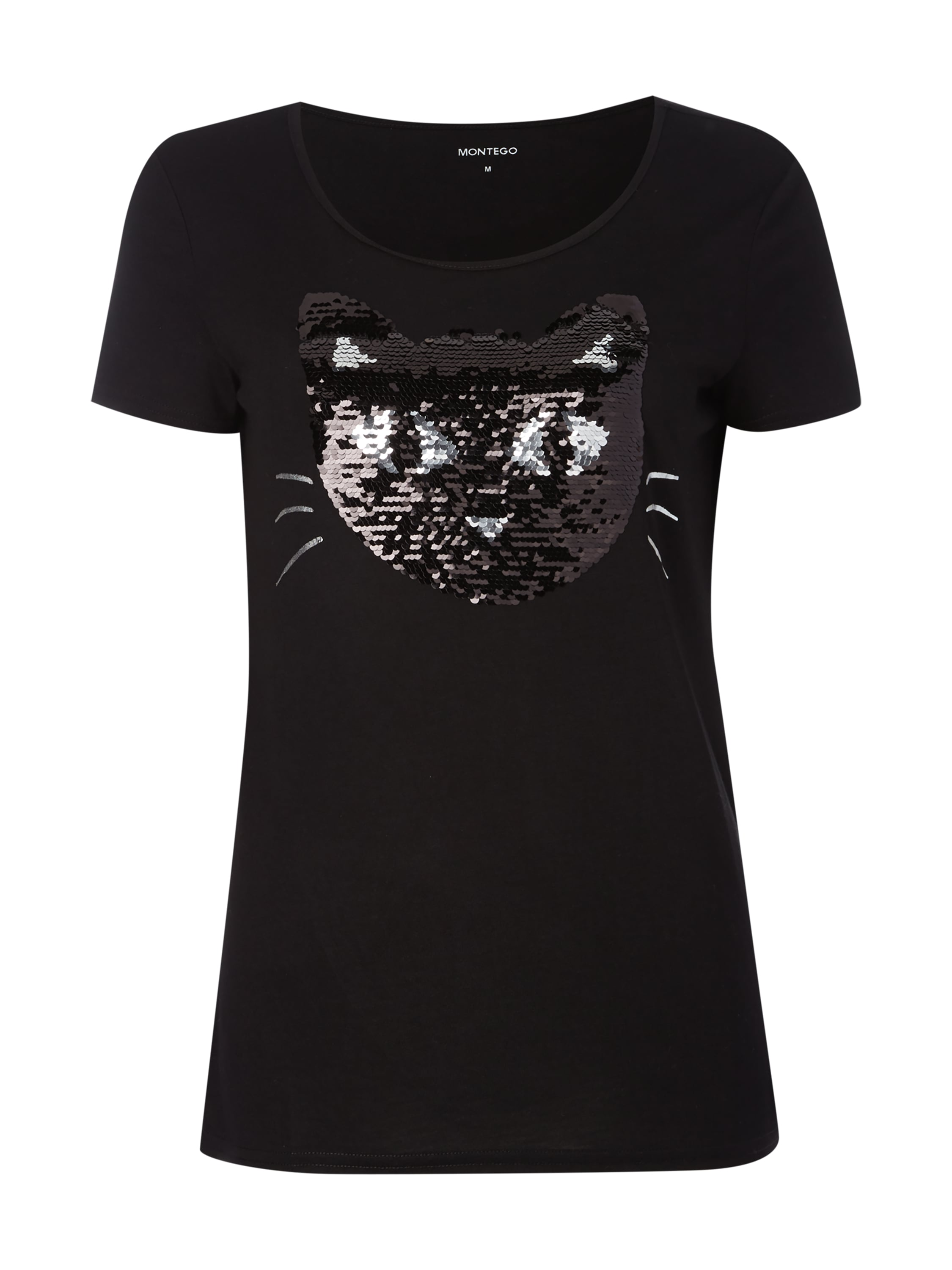 montego t shirt mit wende pailletten in grau schwarz. Black Bedroom Furniture Sets. Home Design Ideas