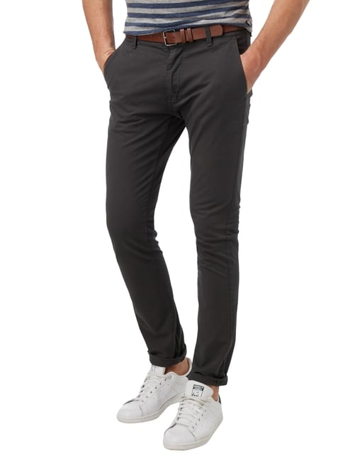 MR. F Slim Fit Chino mit Gürtel Anthrazit - 1