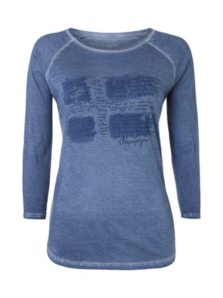 Shirt im Washed Out Look mit Logo-Print Blau / Türkis - 1