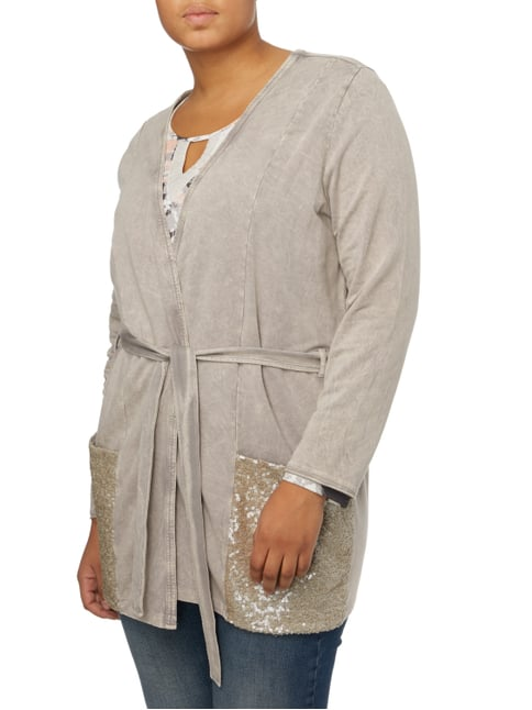 No Secret PLUS SIZE - Longcardigan mit Taillengürtel Taupe - 1