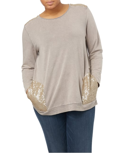 No Secret PLUS SIZE - Sweatshirt mit Kontrasteinsätzen Taupe - 1