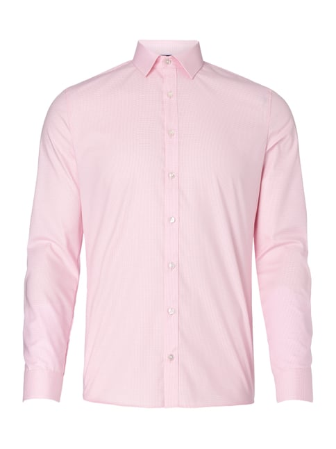 Super Slim Fit Business-Hemd mit Hahnentrittmuster Rosé - 1
