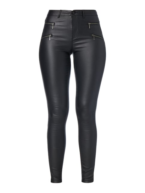 Coated Skinny Fit Jeggings mit Stretch-Anteil Grau / Schwarz - 1
