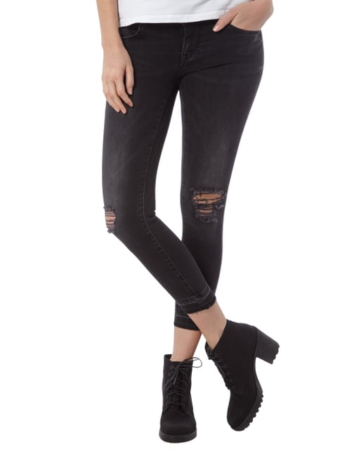 Only Cropped Skinny Fit Jeans im Destroyed-Look Schwarz - 1