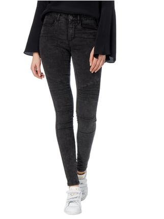 Only Moon Washed Skinny Fit 5-Pocket-Jeans Schwarz - 1