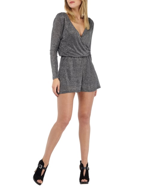 Only Playsuit mit Effektgarn in Grau / Schwarz - 1