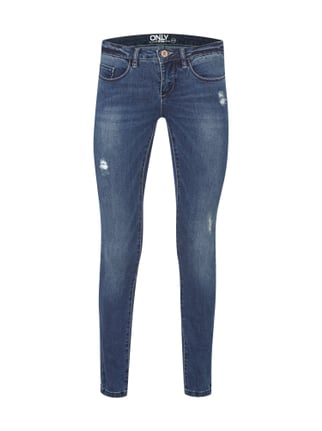 Super Low Waist 5-Pocket-Jeans im Used Look Blau / Türkis - 1