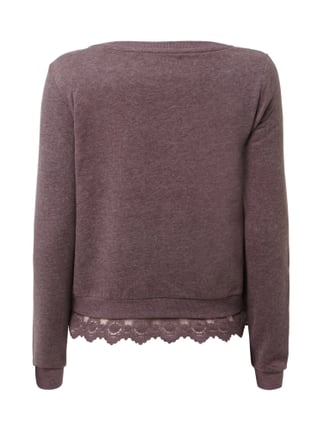 Only Sweatshirt mit Saum im Double-Layer-Look Rot meliert - 1