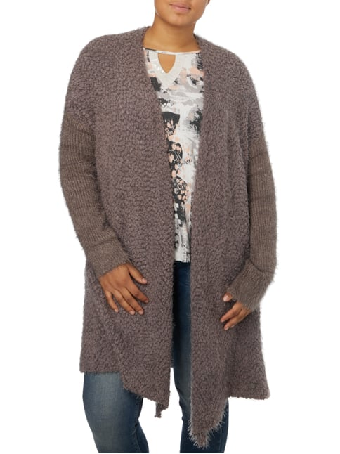 OPEN END PLUS SIZE - Cardigan in Boucléoptik Taupe - 1