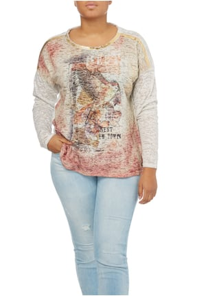 OPEN END PLUS SIZE - Shirt mit Ausbrenner-Effekt Sand - 1