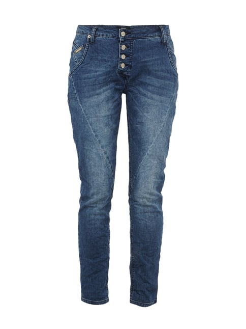 Stone Washed Boyfriend Fit 5-Pocket-Jeans Blau / Türkis - 1