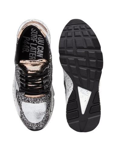 p448 sneaker mit glitter effekt in grau schwarz online. Black Bedroom Furniture Sets. Home Design Ideas