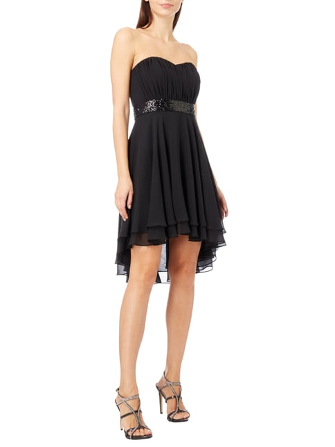 Paradi Cocktailkleid mit Saum im Double-Layer-Look in Grau / Schwarz - 1
