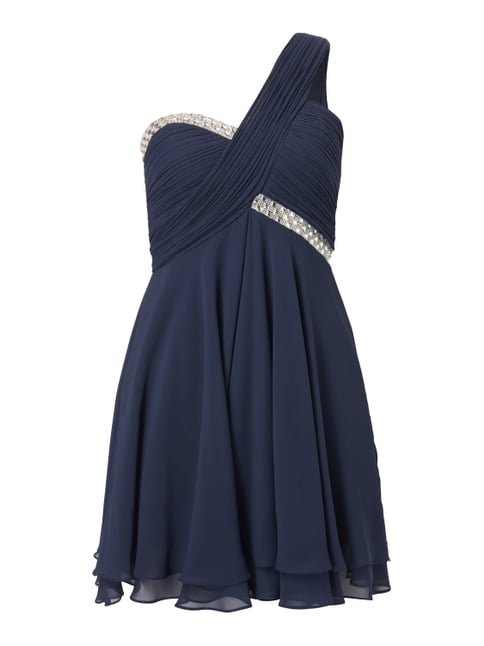One-Shoulder-Cocktailkleid mit Ziersteinen Blau / Türkis - 1