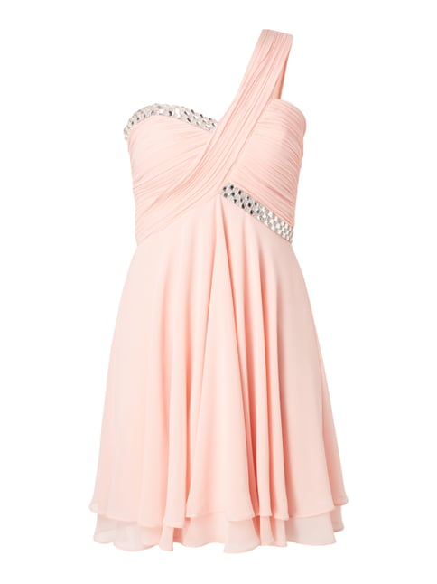 One-Shoulder-Cocktailkleid mit Ziersteinen Rosé - 1