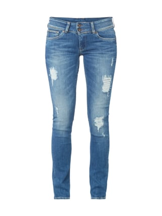 Destroyed Slim Fit Jeans mit Stretch-Anteil Blau / Türkis - 1