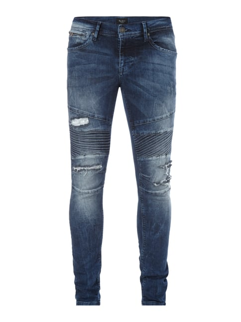 Finsbury Fit Jeans im Destroyed Look Blau / Türkis - 1