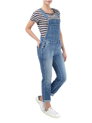 Pepe Jeans Jeanslatzhose im Stone Washed-Look in Blau / Türkis - 1