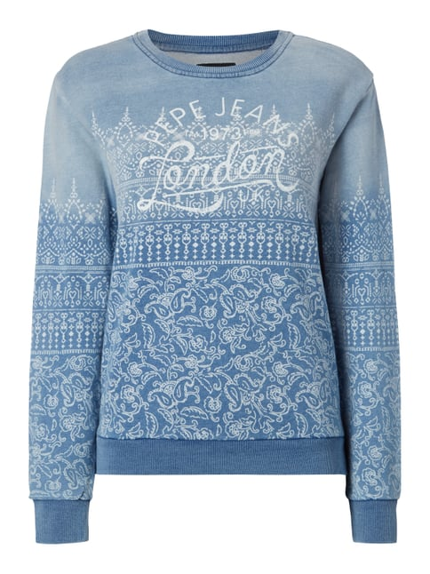 Sweatshirt im Washed Out Look mit Ornamenten Blau / Türkis - 1