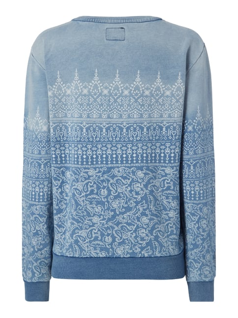 Pepe Jeans Sweatshirt im Washed Out Look mit Ornamenten Bleu - 1