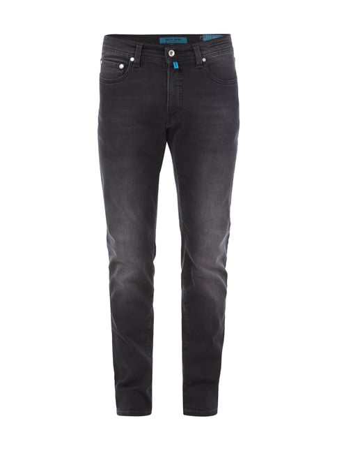 Stone Washed Tapered Fit Jeans Grau / Schwarz - 1