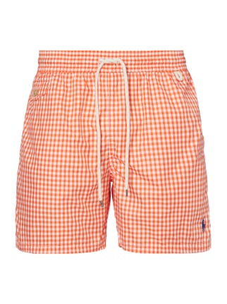 Badeshorts mit Vichy Karo Orange - 1