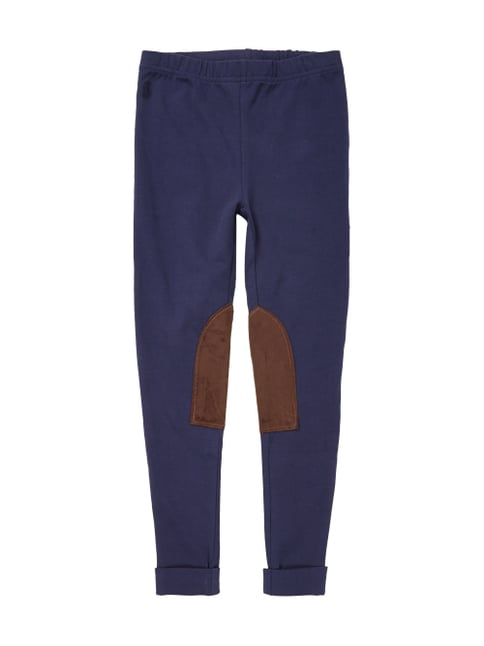 Leggings mit Kontrastbesatz in Veloursleder-Optik Blau / Türkis - 1