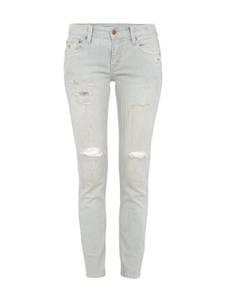 Skinny Dirty Washed Jeans im Destroyed Look Blau / Türkis - 1