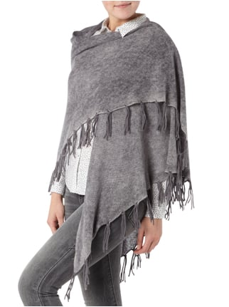 Princess Goes Hollywood Poncho aus Woll-Kaschmir-Mix Anthrazit meliert - 1