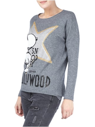 Princess Goes Hollywood Pullover aus Woll-Kaschmir-Mix mit Snoopy-Motiv Anthrazit - 1