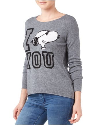 Princess Goes Hollywood Pullover mit Snoopy-Motiv und Message Anthrazit meliert - 1