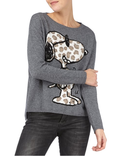 Princess Goes Hollywood Pullover mit Snoopy-Motiv und Ziersteinen Anthrazit - 1