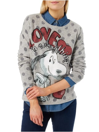 Princess Goes Hollywood Pullover mit Snoopy-Print Mittelgrau - 1