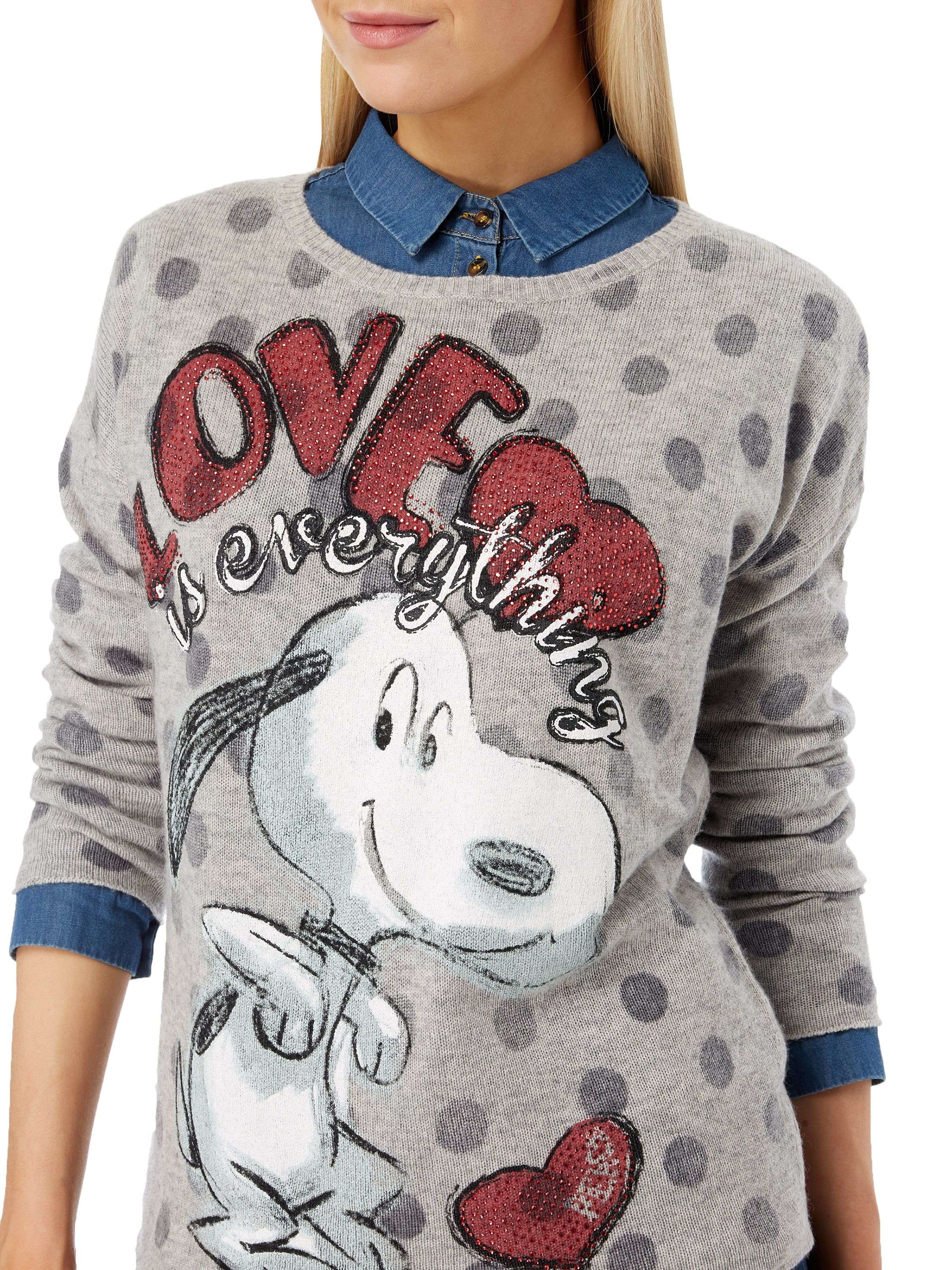 princess goes hollywood pullover mit snoopy print in grau. Black Bedroom Furniture Sets. Home Design Ideas