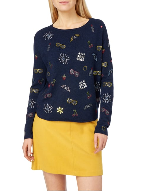 Princess Goes Hollywood Pullover mit Ziersteinbesatz Marineblau - 1