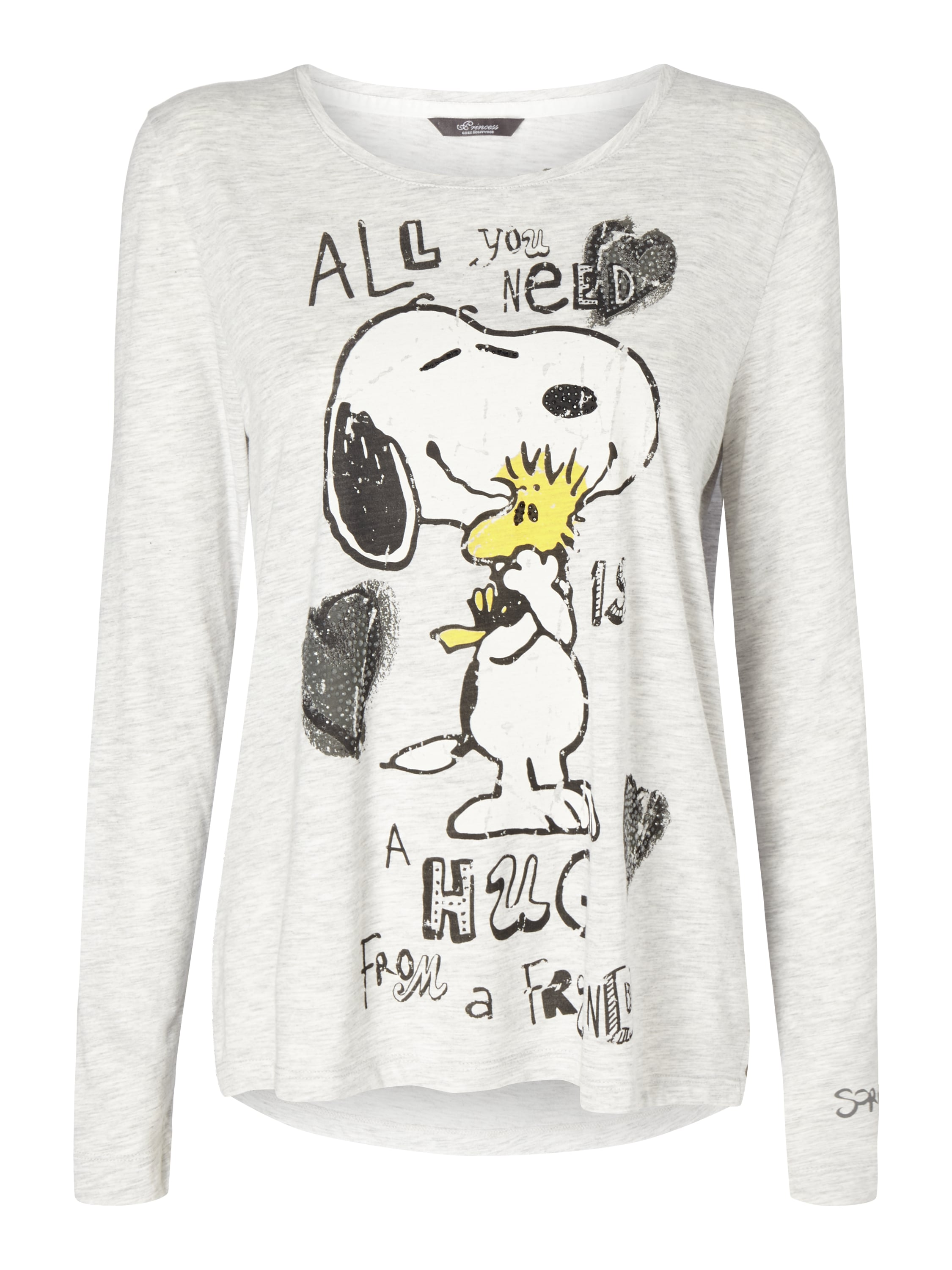 princess goes hollywood shirt mit peanuts print und message in grau. Black Bedroom Furniture Sets. Home Design Ideas
