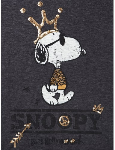princess goes hollywood t shirt mit snoopy print in grau schwarz. Black Bedroom Furniture Sets. Home Design Ideas