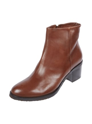 Booties aus Leder in Sacchetto-Machart Braun - 1