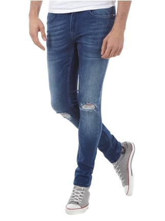 Redefined Rebel Skinny Fit Jeans im Destroyed Look Dunkelblau - 1