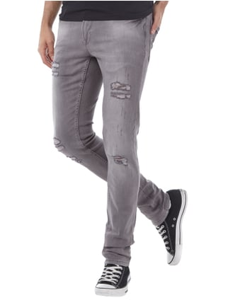 Redefined Rebel Skinny Fit Jeans im Destroyed Look Mittelgrau - 1