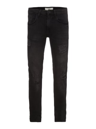 Slim Fit 5-Pocket-Jeans im Destroyed Look Grau / Schwarz - 1
