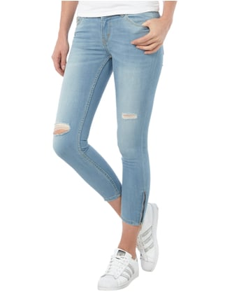 REVIEW Ankle Cut Jeans im Destroyed Look Hellblau meliert - 1