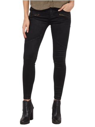 REVIEW Coated Skinny Fit Jeans mit Zip-Details Schwarz - 1