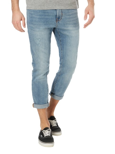 REVIEW Cropped Skinny Fit Jeans im Used Look Blau - 1