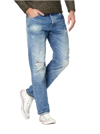 REVIEW Destroyed Look Straight Fit 5-Pocket-Jeans Eisblau - 1