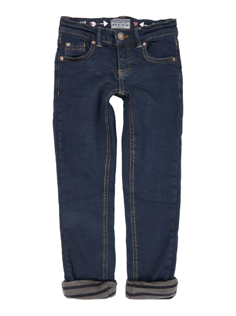 Coloured Slim Fit Jeans mit Futter Blau / Türkis - 1