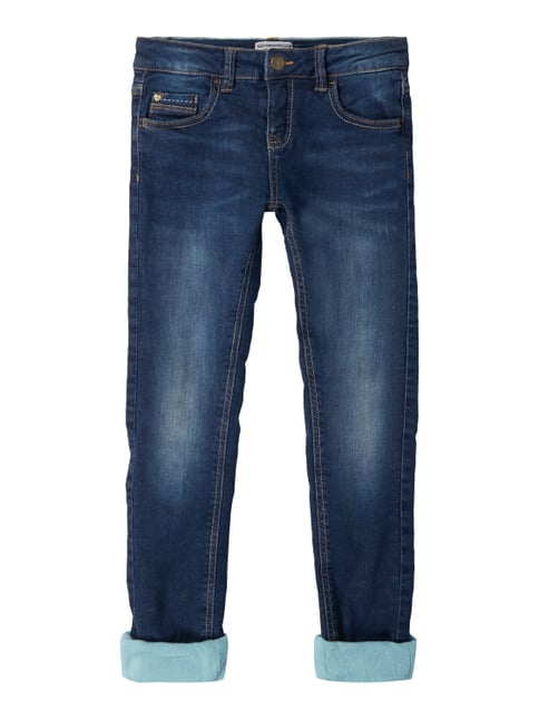 Regular Fit 5-Pocket-Jeans mit Fleecefutter Blau / Türkis - 1
