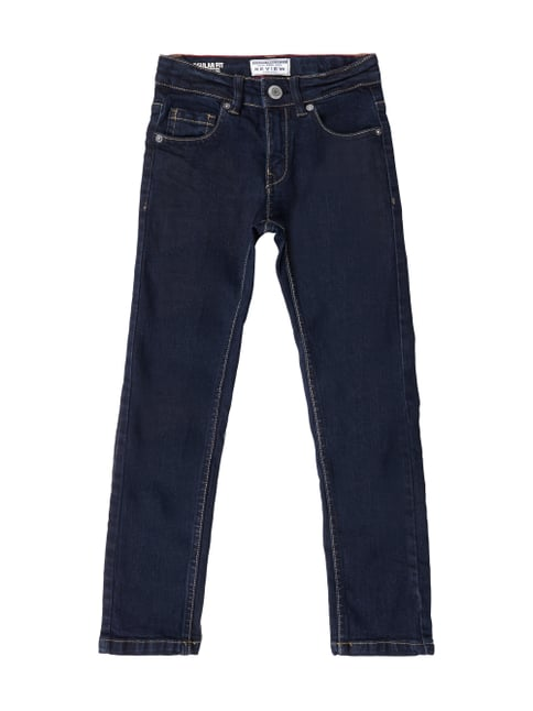 Regular Fit Jeans aus Raw Denim Blau / Türkis - 1